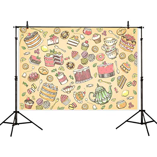 (Allenjoy 7x5ft Dessert Table Photography Background Afternoon Tea Birthday Backdrop Gifts Ribbon Donuts Lollipops Macaron Chocolate Sweet Banner Girl Kids Baby Shower Photo Studio Prop)