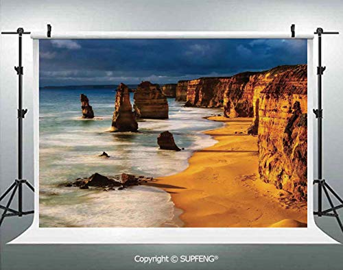 Photography Background Twelve Apostles Australia Sunset Great Ocean Road Coast Cliff Washed by Sea Surf Picture 3D Backdrops for Photography Backdrop Photo Background Studio Prop