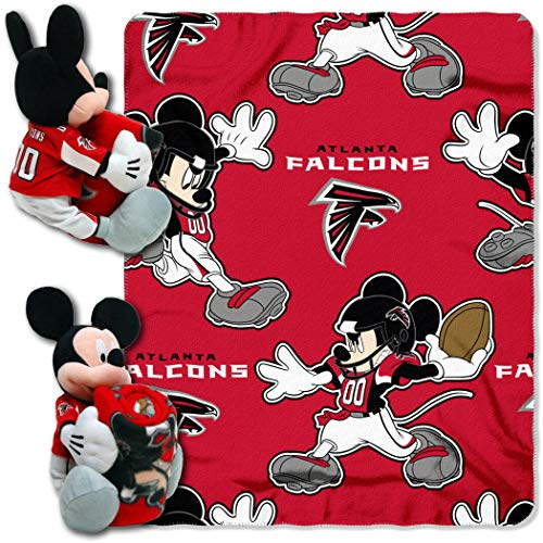 - 2 Piece NFL Falcons Throw Blanket Set Full Sized with Disney Mickey Mouse Character Shaped Pillow, Sports Patterned Bedding Team Logo Fan Black, Red, White, Silver Fleece