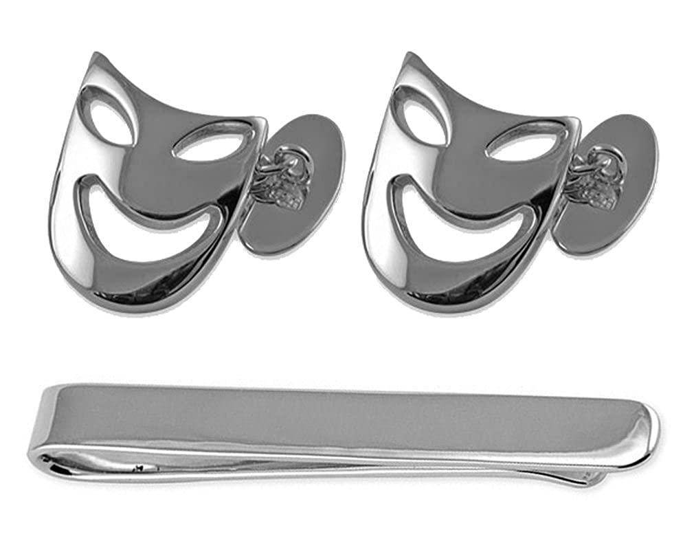 Sterling silver comedy /& tragedy mask Cufflinks Tie Clip Box Set