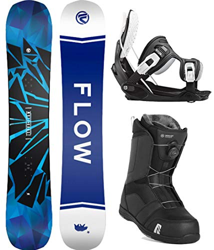 Flow 2020 Burst 152 Men's Complete Snowboard Package Bindings Nidecker BOA Boots (Black Bindings, Boot Size 10)
