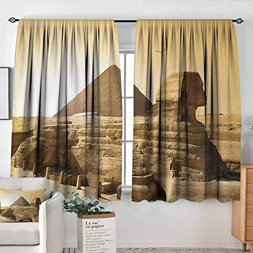 - Theresa Dewey Waterproof Window Curtain Ancient,Egyptian Pyramids Famous Great Landmark Wonders of The World Heritage View Print,Sand Brown,Blackout Draperies for Bedroom 52