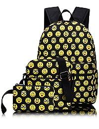 Leaper Cute Kids Emoji Backpack Daypack School Shoulder Bag Knapsack Pencil Case 3PCS