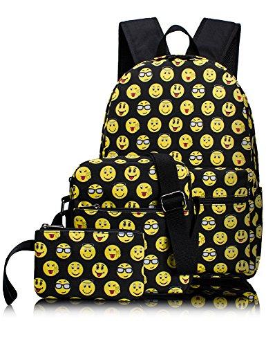 Backpacks for Kids, Emoji Backpack Light Daypack School Bag Shoulder Bags Pencil Cases 3 PCS by Leaper