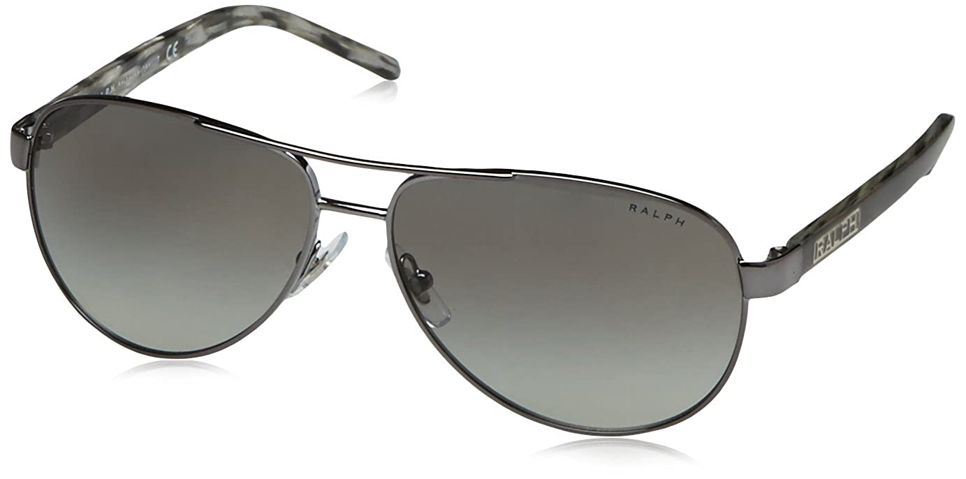 9e084ed3ad Amazon.com: Ralph by Ralph Lauren Women's 0ra4004 Aviator Sunglasses  GUNMETAL/GREY HORN 59.0 mm: Ralph: Clothing