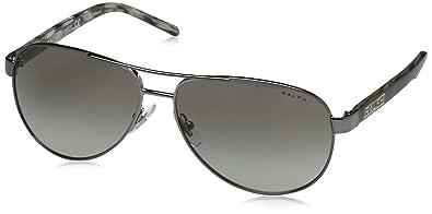 Ralph by Ralph Lauren Womens 0ra4004 Aviator Sunglasses, GUNMETAL/GREY HORN, 59.0 mm