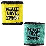 Zumba PLZ Wristbands Pack of 2, One Size, Caution/Seafoam