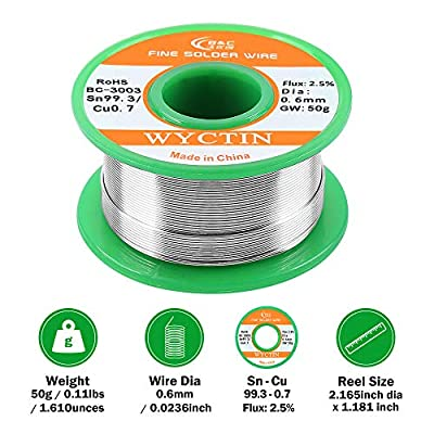 WYCTIN Lead Free Solder Wire Sn99.3-Cu0.7 0.6mm with Rosin Core for Electrical Soldering and DIYs