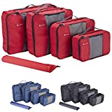 Premium Set of 4 Packing Cubes with BONUS Laundry Bag, Superior Travel Organizer Fits Inside Suitcases, Light Weight, Durable Fabric & Zippers, Highest Quality Materials (Red)