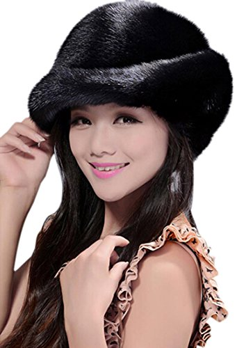 Easting Hot Fashion Women Winter Genuine Mink Fur Hats (Black) by Easting&co