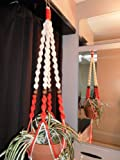 Macrame Plant Hanger IVORY and ORANGE 4 WALNUT BEADS Made in USA For Sale