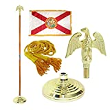 Florida 3ft x 5ft Flag, Flagpole, Base, and Tassel (Metal Eagle, 8 Ft Oak Pole)