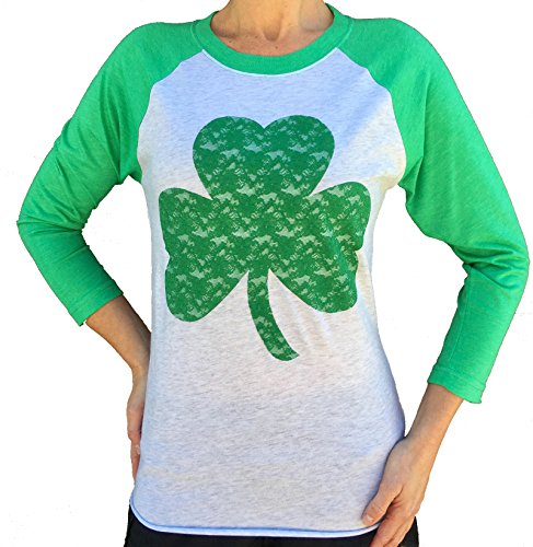 SoRock Women's St. Patrick's Day Lace Shamrock 3/4 Sleeve Tri Blend Tshirt Medium Green (St Pats T Shirts)