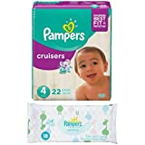 Pampers Cruisers Baby Diapers Size 4 (22 Count) Bundled with Pampers Sensitive Baby Wipes (18 Count)