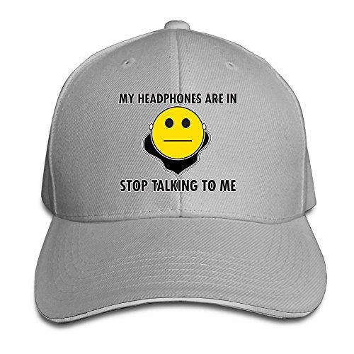 Cutadorns My Headphones Are In Stop Talking To Me Sunbonnet Sandwich Hat (Jar Top Bonnet)