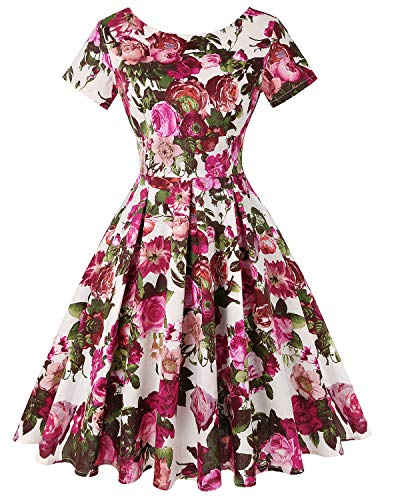 Floral Cocktail - MINTLIMIT Women's 1950s Retro Vintage A-Line Short Sleeves Cocktail Swing Party Dress (Floral Fuchsia,Size XXL)