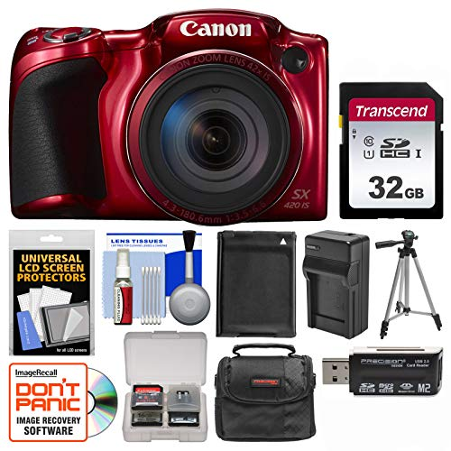 Canon PowerShot SX420 is Wi-Fi Digital Camera (Red) with 32GB Card + Case + Battery & Charger + Tripod + Kit