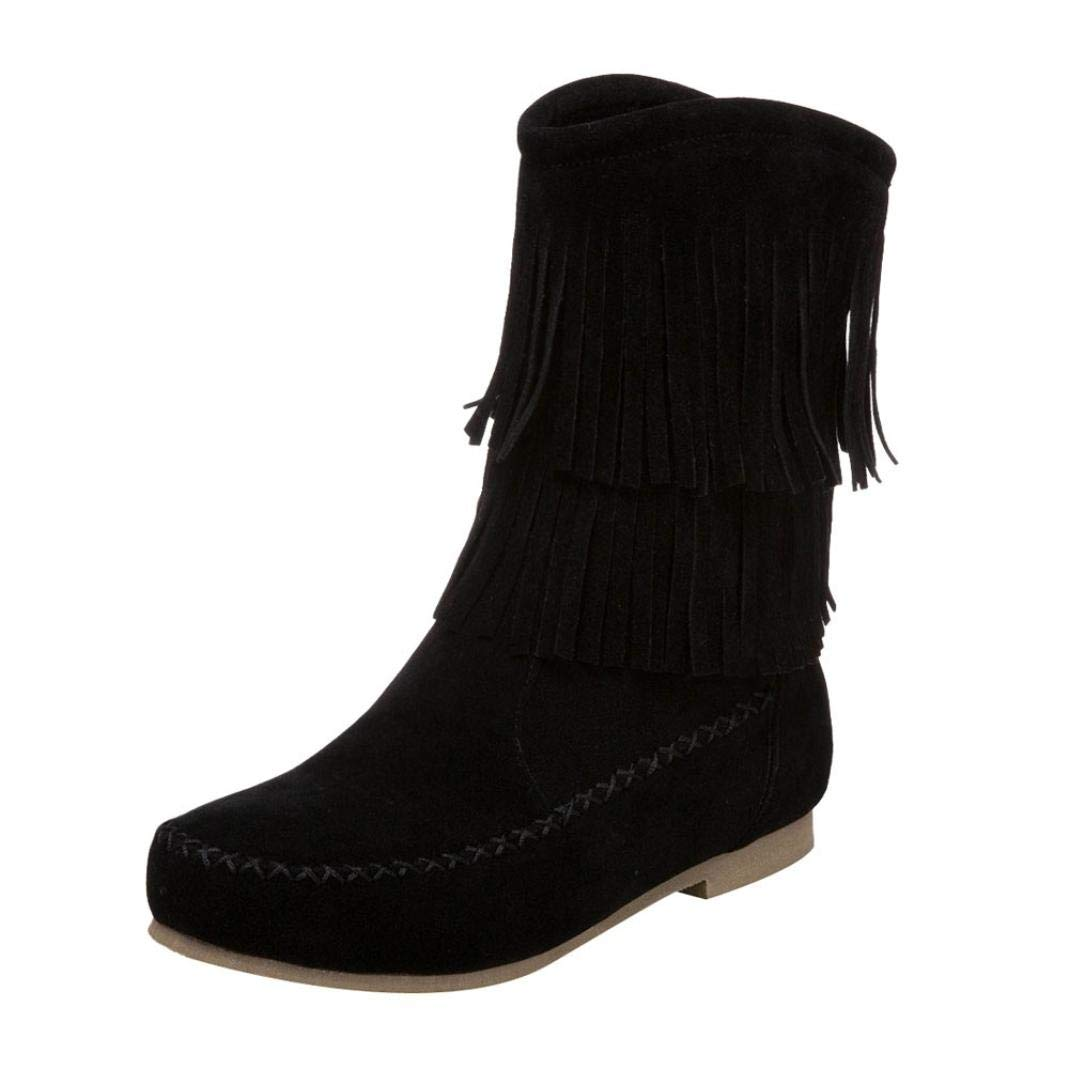 Aurorax-shoes Clearance Womens Mid Calf Bootie 5.5-9.5,Western Tassel Suede Flat Riding Boots-Comfortable (Black, US:6.5)