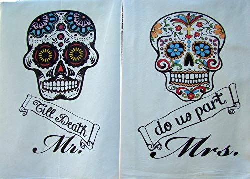 (Dia De Los Muertos Day of the dead flour sack towel set graphic printed handmade)