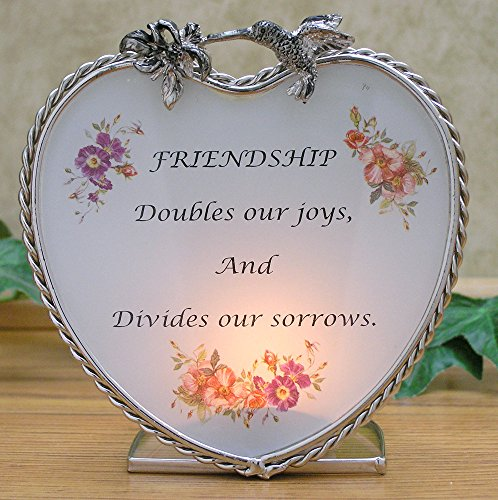 BANBERRY DESIGNS Friend Candle Holder with Message - Heart with a Poem about Friends - Gifts for Friends