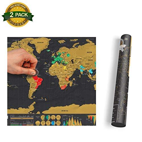 2 Pcs Scratch Off World Map Poster Bonus USA Traveler's eBook by Chelseabyt