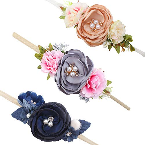 (Baby Girl Floral Headbands Set - 3pcs Flower Crown Newborn Toddler Hair Accessories by mligril, Lola Pearls, Small)