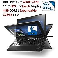 Lenovo High Performance 11.6-Inch ThinkPad Yoga Convertible IPS Touchscreen Laptop (Intel Celeron Quad-Core Processor, 4GB RAM, 128GB SSD, 802.11AC, Bluetooth, Webcam, HDMI, Windows 10)