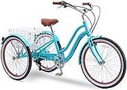 sixthreezero EVRYjourney 26 Inch 7-Speed Hybrid Adult Tricycle with Rear Basket