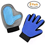 Pet Grooming Glove - Pet Glove Massage Magic Hair Remover - Perfect for Dogs & Cats with Long & Short Fur - Set of 2