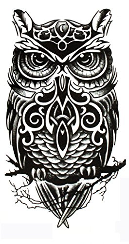 Yeeech Temporary Tattoos Owl Sticker Sexy Large Arm Black Long Lasting Waterproof Body Art Sheet Men Women