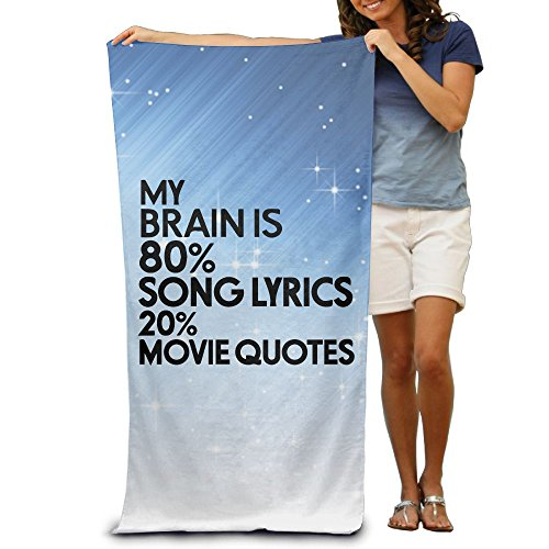 Wxf My Brain Is 80% Song Lyrics 20% Movie Quotes Soft Fast Drying Beach Towel Pool Towel 30x50 ()