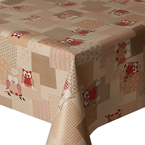 PVC Tablecloth Hoot Red 2 Metres (200cm x 140cm), Owls Polka Dot Stripes Gingham Check Floral Leaf, Latte Brown Beige Red Cream, Wipe Clean, Vinyl / Plastic Table Cloth Unknown
