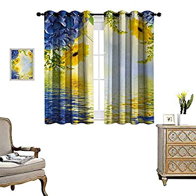 Yellow and Blue Window Curtain Drape Romantic Bouquet of Hydrangeas and Asters on Water Background Decorative Curtains for Living Room W55 x L39 Violet Blue Earth Yellow