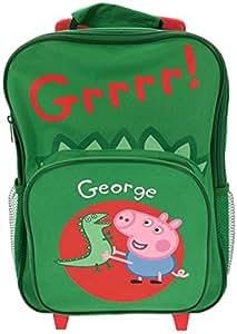Peppa Pig George - Mochila con ruedas, color verde