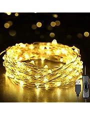 Zwbfu Luzes De Fadas,Luzes de fada 12m 120 LEDs Luzes de corda USB IP65 à prova d'água branco quente para Natal, casamento, interno/externo - fio de prata