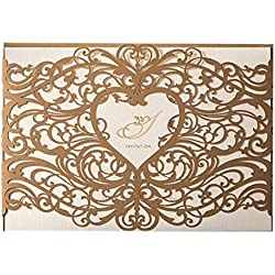 Wishmade 50pcs Gold Laser Cut Wedding Invitations Cards with Pocket Heart Design Hollow Elegant Kit for Marriage Engagement Birthday Bridal Shower with Envelopes Seals (set of 50pcs)