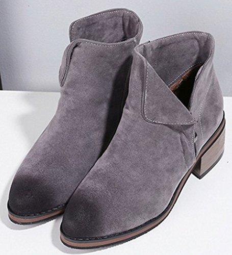 Easemax Women's Warm Pointed Toe Chunky Mid Heeled Zip Up Short Ankle High Booties Grey u4RAu