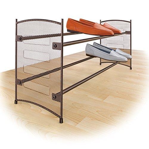 Stackable Expandable Shoe Rack (Lynk Expandable 2 Tier Stackable Shoe Rack - Steel Mesh Shoe Shelf - )