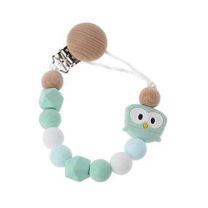 exing Clips de chupete de dentición silicona Owl porte-tétine en forma de perla de madera para tetinas bebé juguetes de mascar para bebé talla única ...