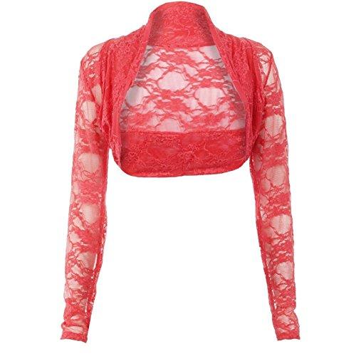 Janisramone mujer manga larga de encaje encogiéndose de hombros bolero chaqueta recortada parte superior Coral