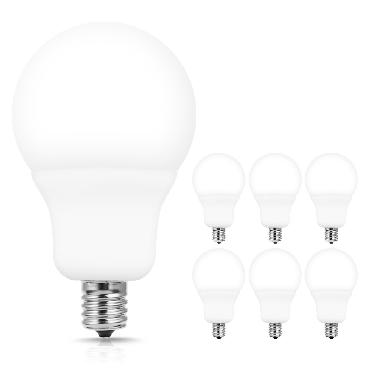 JandCase A19 Candelabra LED Light Bulbs, E17 Intermediate Base, 7W(60W Incandescent Equivalent), 700 LM, Natural Daylight White 4000K LED Bulb for Ceiling Fan, Hom Lighting, Not Dimmable, 6 Pack