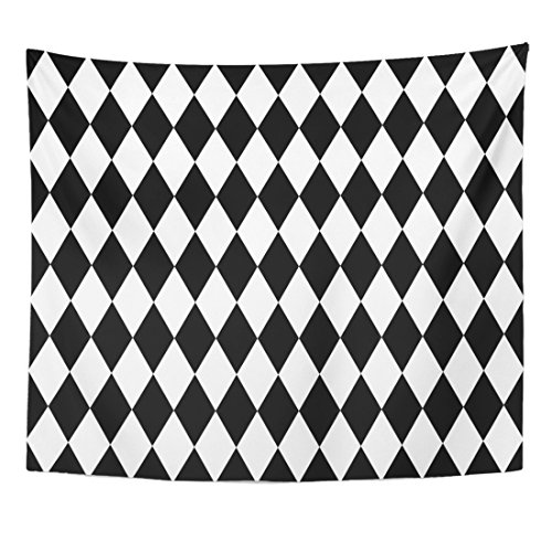 Breezat Tapestry Diamond Black and White Pattern Simple Home Decor Wall Hanging for Living Room Bedroom Dorm 50x60 (2 Pierrots Halloween)