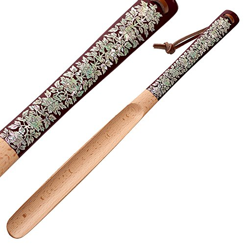 Mother of Pearl Inlay Art Peony Flower Design 20 Inch Long Wooden Red Handled Shoe Horn Shoehorn with Leather String for Hanging by Antique Alive