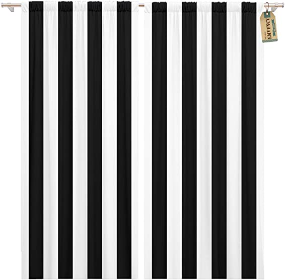 Golee Window Curtain Minimal Awning Stripe Black and White Line Pattern Pinstripe Home Decor Pocket Drapes 2 Panels Curtain 104 x 96 inches