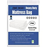 HOMEIDEAS 2-Pack 5 Mil Thick Mattress Bag for Moving and Storage, Not Clear Mattress Bag Protecting Mattress and Your Privacy, Fits Queen and King Size