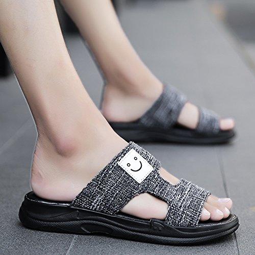 泥沼翻訳廃棄YQQ ファッションスリッパ メンズサンダル ビーチの靴 男性の靴 夏のカジュアルシューズ ホリデーシューズ 滑り止め 屋外 男の子 居心地の良い (色 : 黒, サイズ さいず : EU43/UK9)