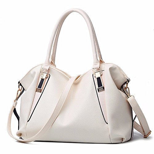 2018 Ladies' Classic Casual moda bolso, bolso, bolso de hombro,Pink Arroz Blanco