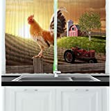 Ambesonne Kitchen Decor Collection, Farm Barn Yard Image Kitchenware and Home Decor Rooster Early Bird Natural Sunrise, Window Treatments for Kitchen Curtains 2 Panels, 55X39 Inches, Light Brown Red