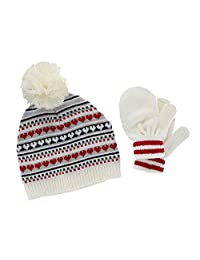 CTM® Toddler Girl's 0-2 Jacquard Knit Beanie and Mitten Set, White