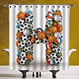 SCOCICI Funky Shower Curtain 3.0 [ Letter H,Letter H Stacked from Gaming Balls Alphabet of Sports Theme Competition Activity Decorative,Multicolor ] Fabric Shower Curtain